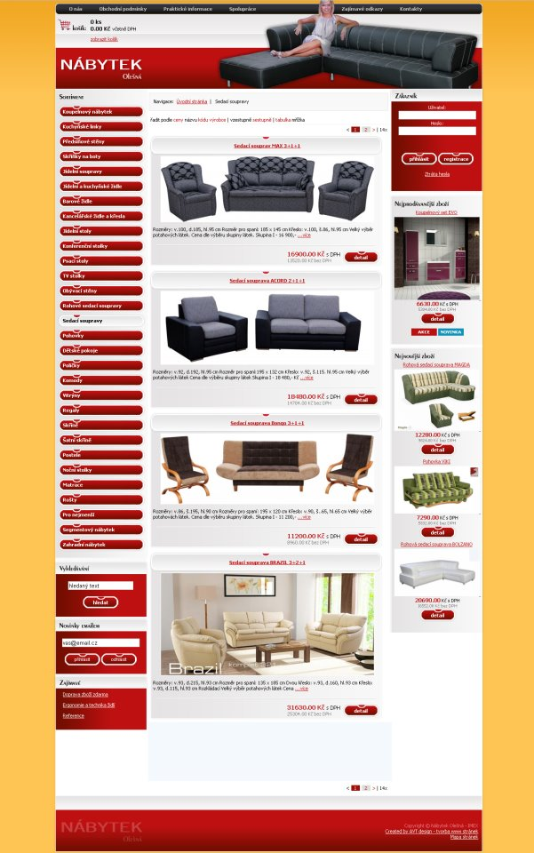 Nábytek Olešná - tvorba www stránek, webdesign, internetové obchody